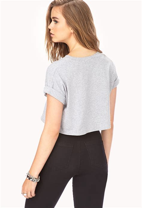Forever 21 Casual Monday Chic Crop Top in Heather Grey