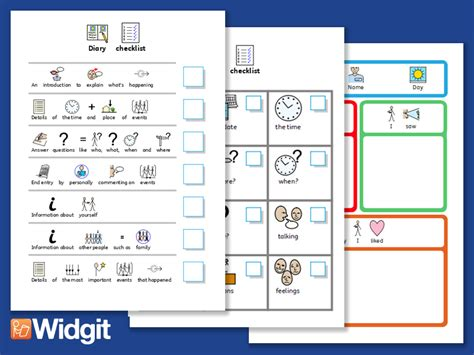 Diary Activities with Widgit Symbols   Teaching Resources