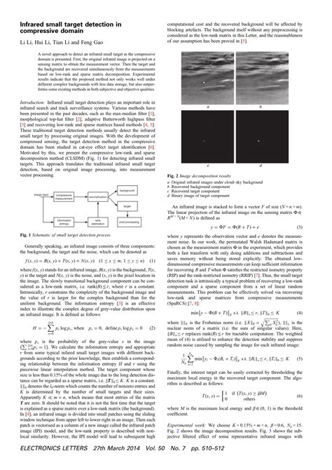 (PDF) Infrared small target detection in compressive domain