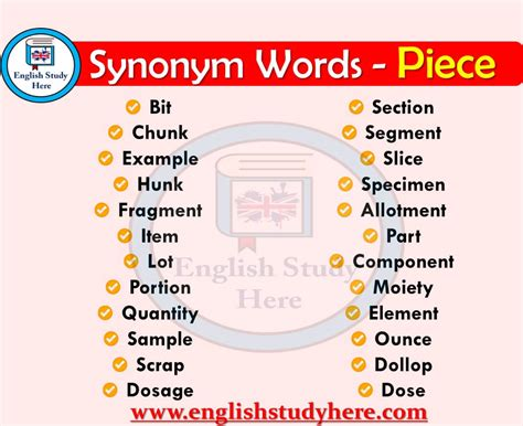 Piece Synonyms Words - English Study Here