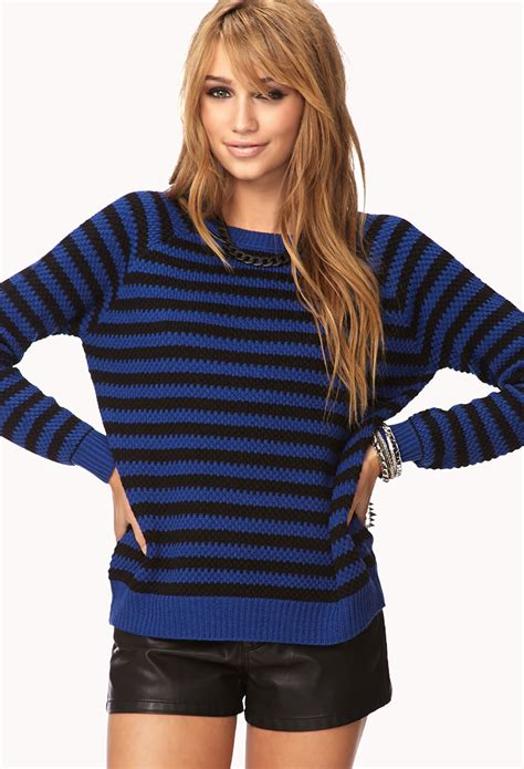 Forever 21 Striped Sweater in Blue - Lyst