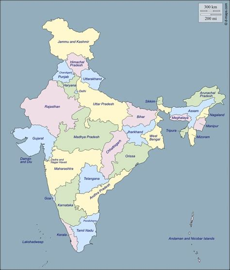Outline map of India's 29 states   India map, States of