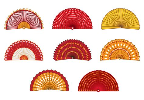Set Of Colorful Spanish Fan Vector - Download Free Vectors