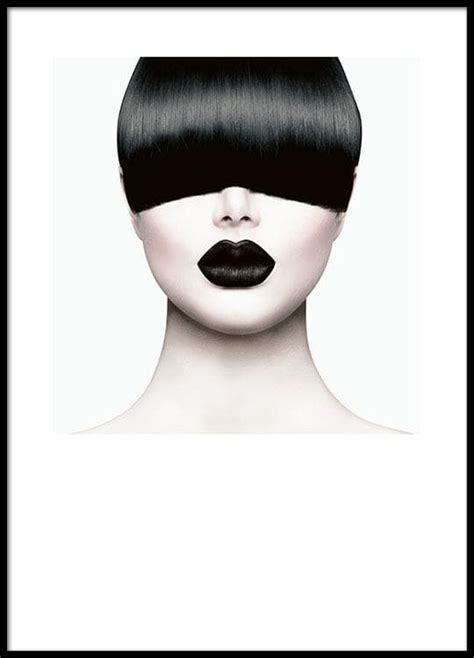 Modern fashion poster with photograph of model with bangs