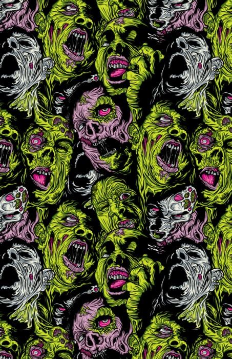Cool green/black/hot pink color combo | Zombie wallpaper