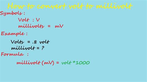 how to convert volt to milivolt - electrical calculation